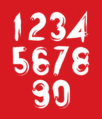 Handwritten white vector numbers on red backdrop, stylish number