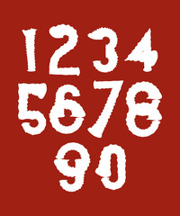 Handwritten white wavy vector numbers isolated on red background