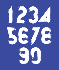 Handwritten vector numbers isolated on dark background, painted