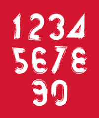 Calligraphic brush numbers on red backdrop, hand-painted white v