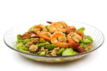 Stir-fried Thai Flat Beans with shrimp