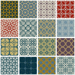 Vintage tiles with grunge textures seamless patterns set.