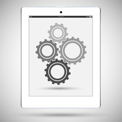 Realistic detailed white tablet with a gears on the touch screen