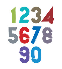 Handwritten colorful vector numbers, stylish numbers set drawn w