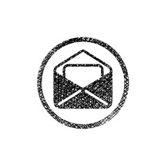 Envelope mail vector icon with hand drawn lines texture.