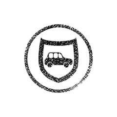 Car protection icon with shield, vector symbol with hand drawn l