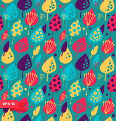 Cute floral background  Colorful seamless pattern