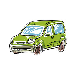 Colored hand drawn car on white background, illustration of a st