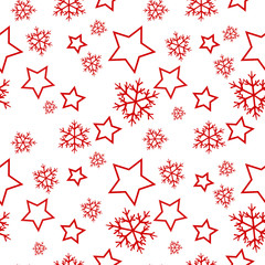 Seamless winter pattern with stars and snow vector illustration