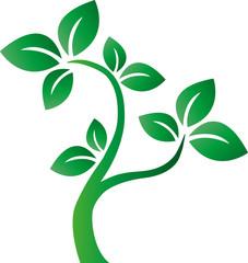 green tee plant logotype environ milieu