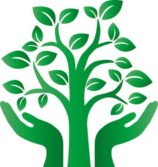 green tree logotype or header