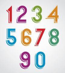 Colorful cartoon rounded numbers with white outline.