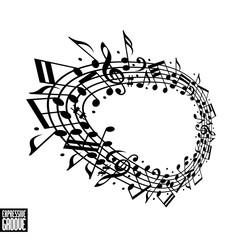 Expressive groove concept. Black and white design.