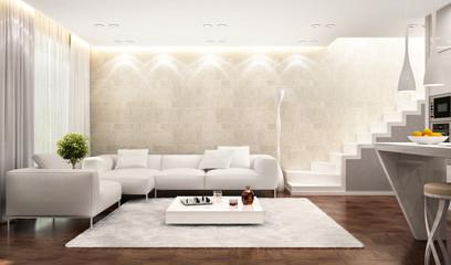 Modern white interior in house
