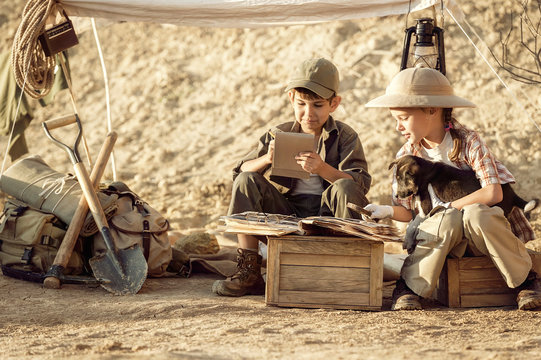 Archaeologists take notes on the excavations conducted