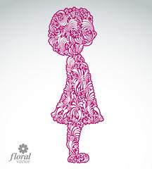 Creative illustration of a shy girl with a short hair. Cute teen