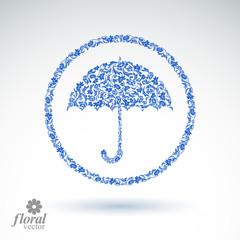 Beautiful flower-patterned umbrella. Stylized accessory – crea