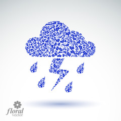 Thunder and lightning vector meteorology pictogram. Weather fore