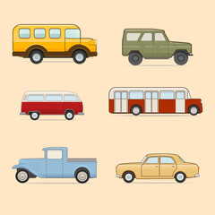 Vector set of colorful cars