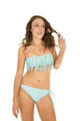 woman blue fringy bikini body play with hair
