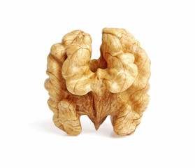 Kernel walnut isolated on the white background closeup
