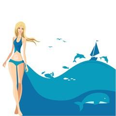 tourist girl and the sea