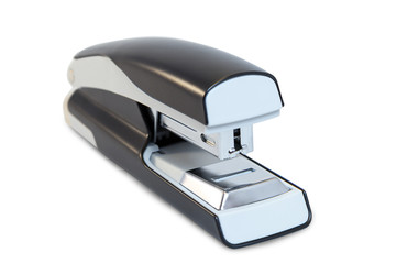 Closeup of a grey office stapler, isolated on white background