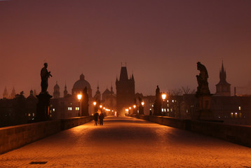 Wall Murals Prague Dawn on Charles Bridge in Prague