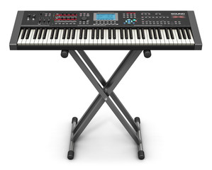 Professional musical synthesizer on stand