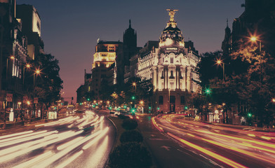 The Metropolis building at night, Madrid.