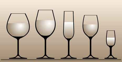 Silhouettes of wine glasses.