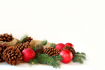 Christmas Bulb, Pine Cone, and Evergreen Border Isolated on Whit