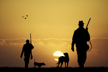 hunter at sunset Wall mural