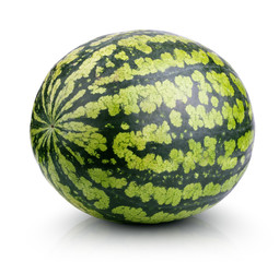 Single ripe watermelon isolated on white with clipping path