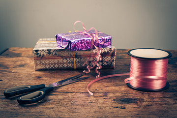 Presents on a wooden table