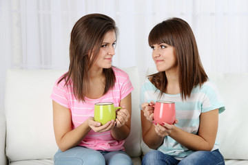 Beautiful girls twins drinking tea at home