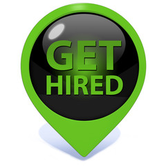 Get hired pointer icon on white background