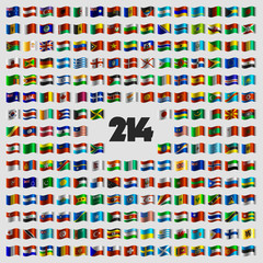 Set of two hundred and fourteen national flags that celebrate