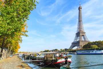 A view of a Seine river with Eiffel Tower in Paris, France