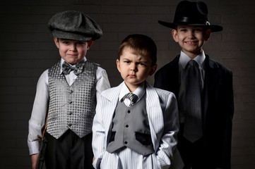 Portrait of a boys in an image of the gangsters