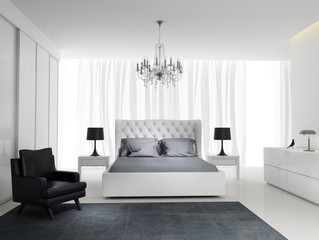 Contemporary fresh elegant white bedroom with rug