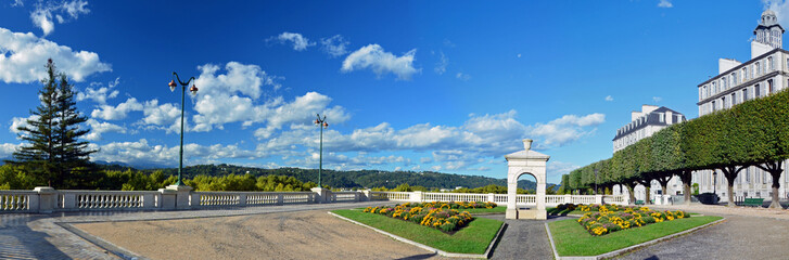 Panorama of fountain place of Boulevard of Pyrenees in Pau