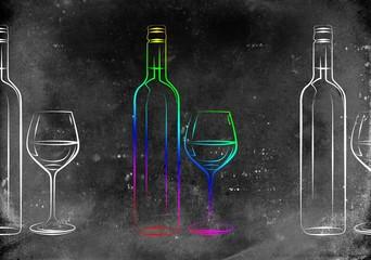 Wine art illustration