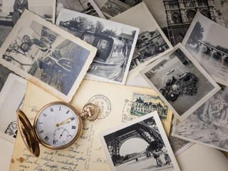 pocket watch with old photographs Wall mural