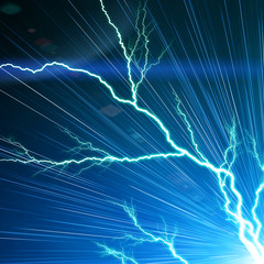 Electric flash of lightning on a blue background