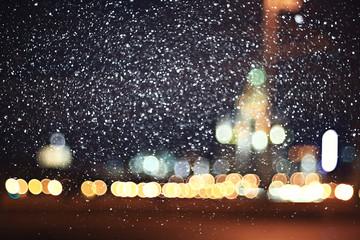 background city lights snow winter christmas