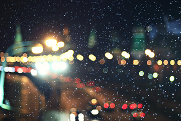 background city lights snow winter christmas