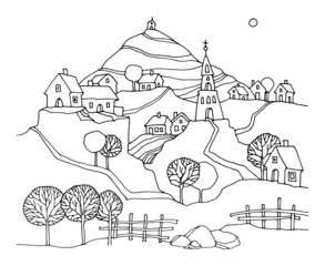 Hand drawn rural landscape