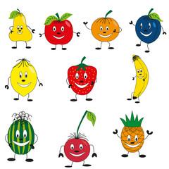 Set of happy fruits