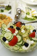 Greek salad , and a variety of dishes
